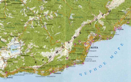 Карта Большой Ялты с посёлками