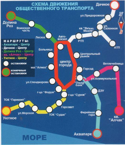 Схема транспортной развязки Судака