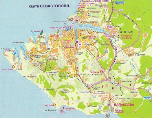 Карта достопримечательностей Севастополя