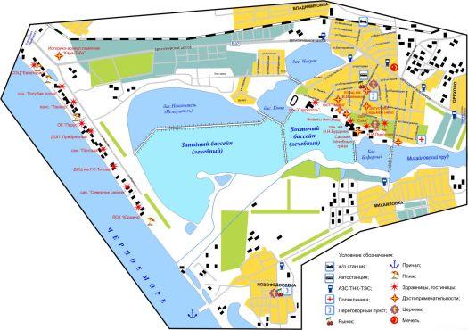 Карта Сак, на которой отмечено расположение пансионатов, достопримечательностей и госучреждений города