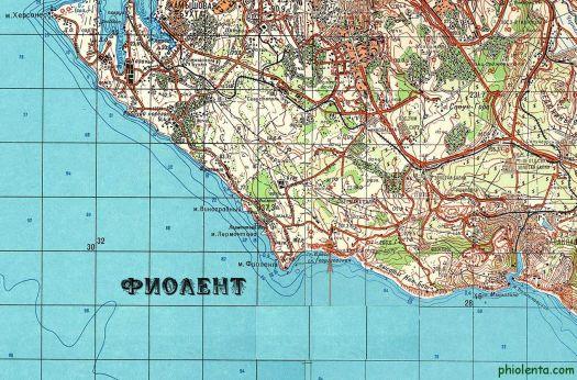 Топографическая карта Фиолента