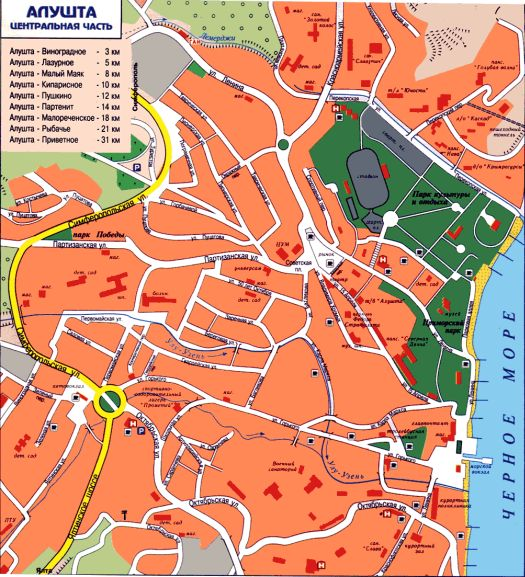Схематическая карта Алушты