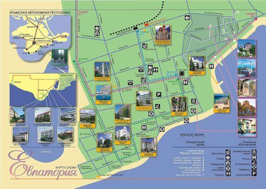 Карта схема-санаториев Евпатории