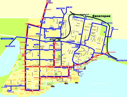 Карта дорог Евпатории