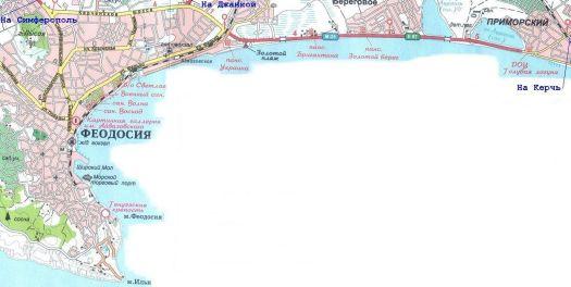 Карта береговой полосы Феодосии