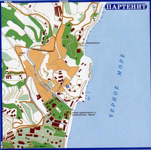Карта посёлка Партенит