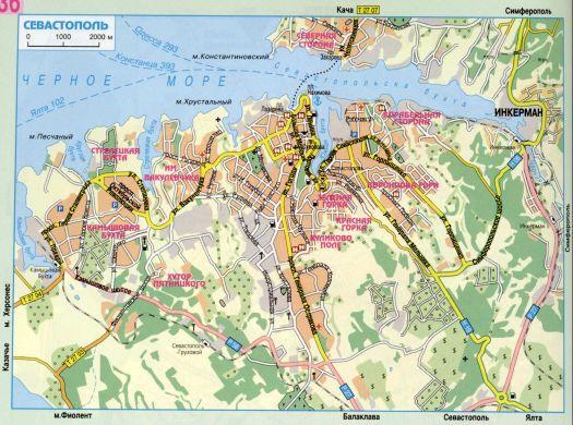 Районы Севастополя на карте города и его окрестностей