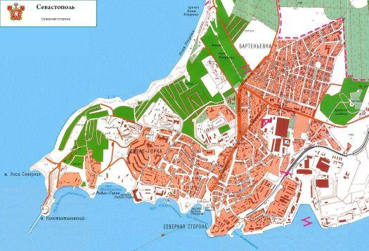 Карта Северной стороны Севастополя
