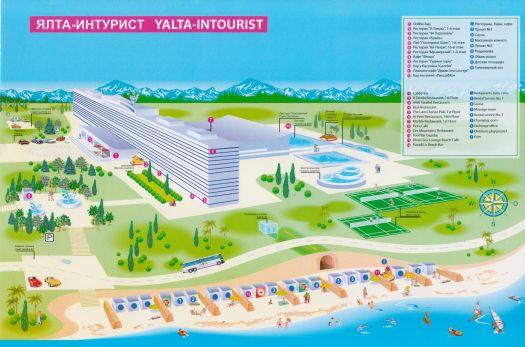 Схема приотельной зоны и пляжа гостиницы ''Ялта-Интурист''