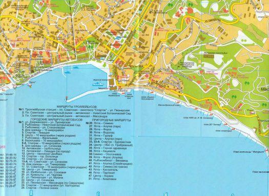 Карта Ялты с плажами и транспортными маршрутами