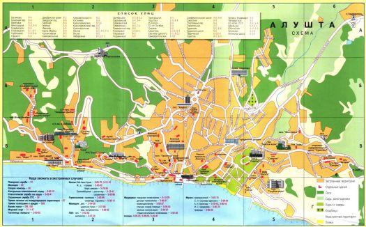 Туристическая карта Алушты