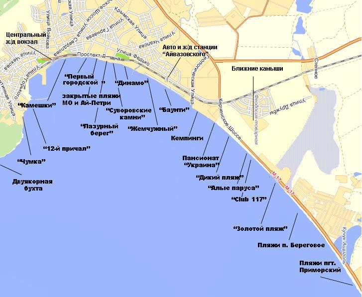 Карта феодосийских пляжей