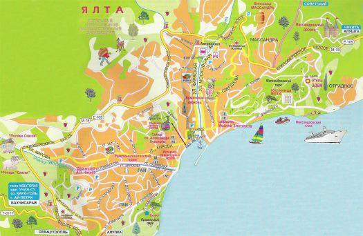 Карта достопримечательностей Большой Ялты