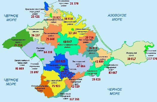 Автономную республику Крым традиционно разделяют на 25 районов