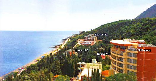 Обзорный вид на отель ''Море'' и его территорию