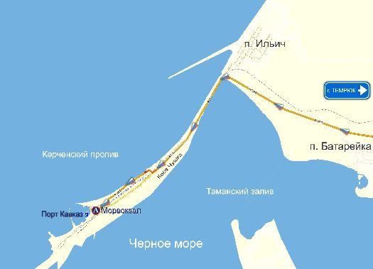 Расположения порта ''Кавказ'' на схематической карте