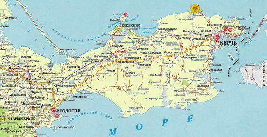 Керчь на карте Крыма