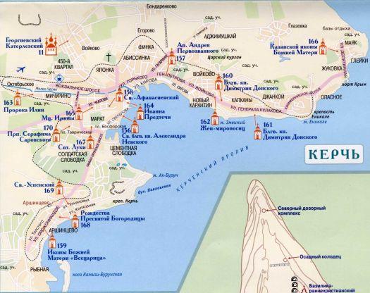 Карта Керчи с населенными пунктами и достопримечательностями